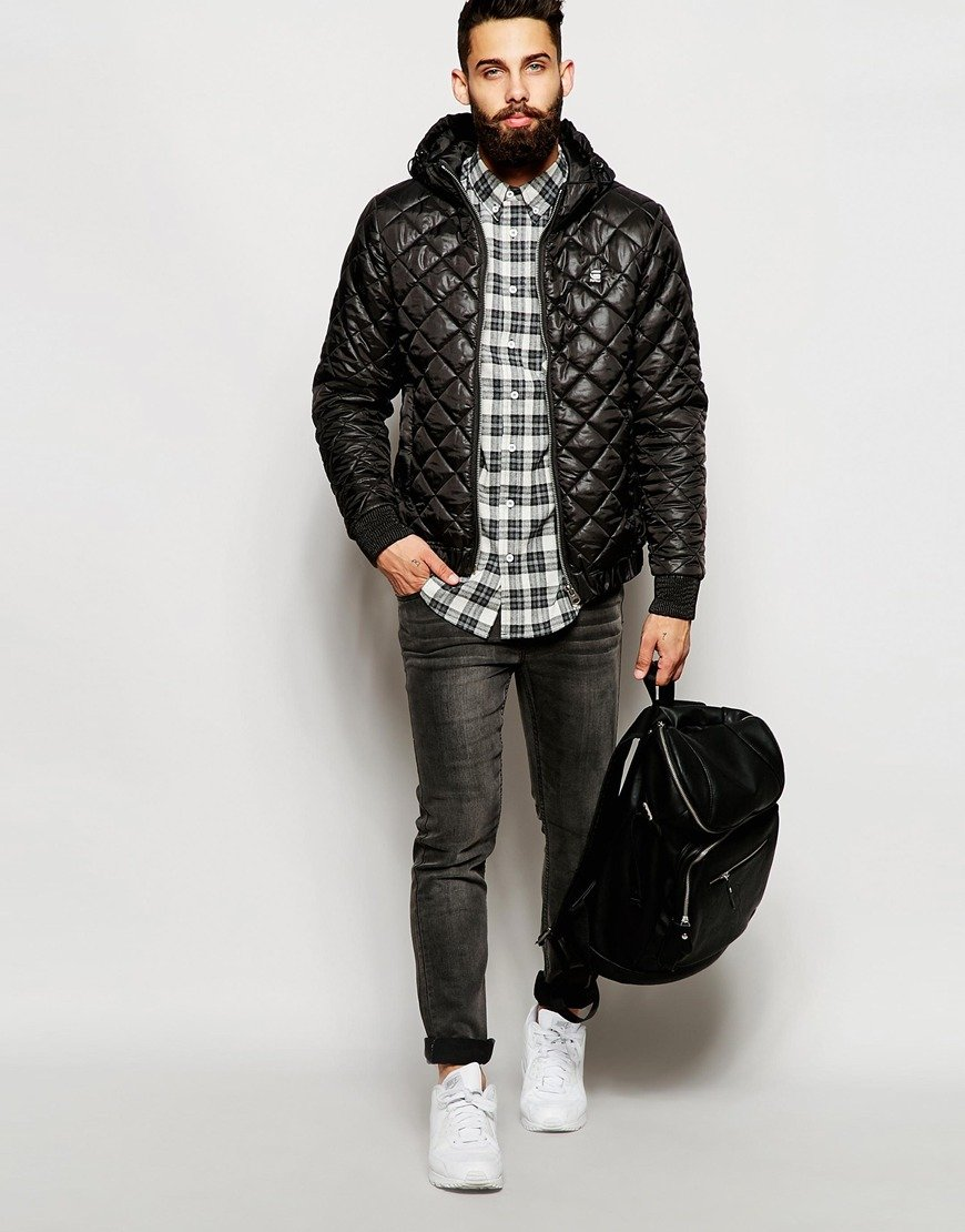 g star raw quilted hooded overshirt jacket meefic myrow. Black Bedroom Furniture Sets. Home Design Ideas