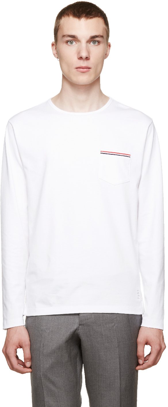 Thom browne white long sleeve t shirt in white for men lyst for Thom browne white shirt