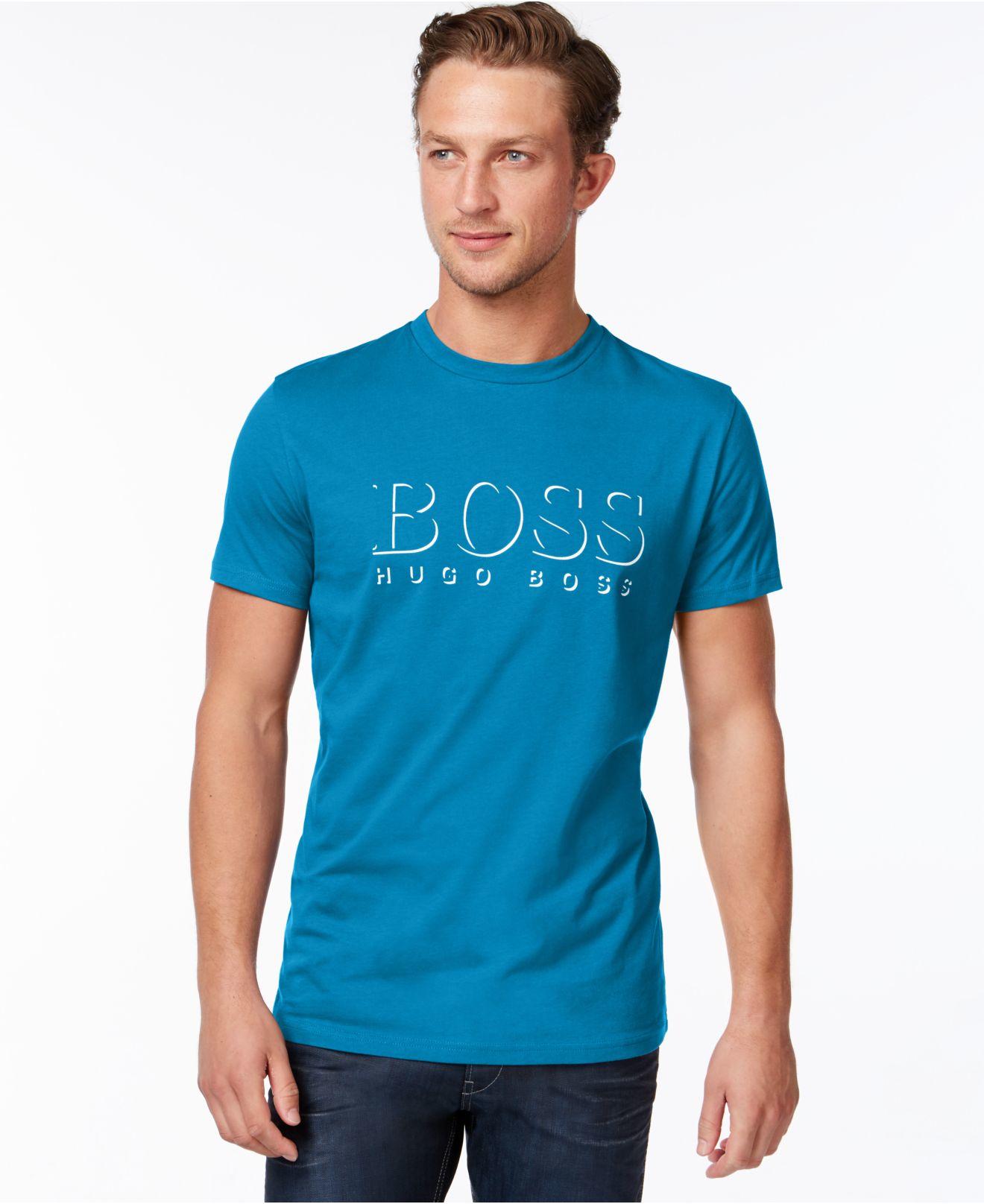Lyst Boss Spf 50 Logo Swim T Shirt In Blue For Men