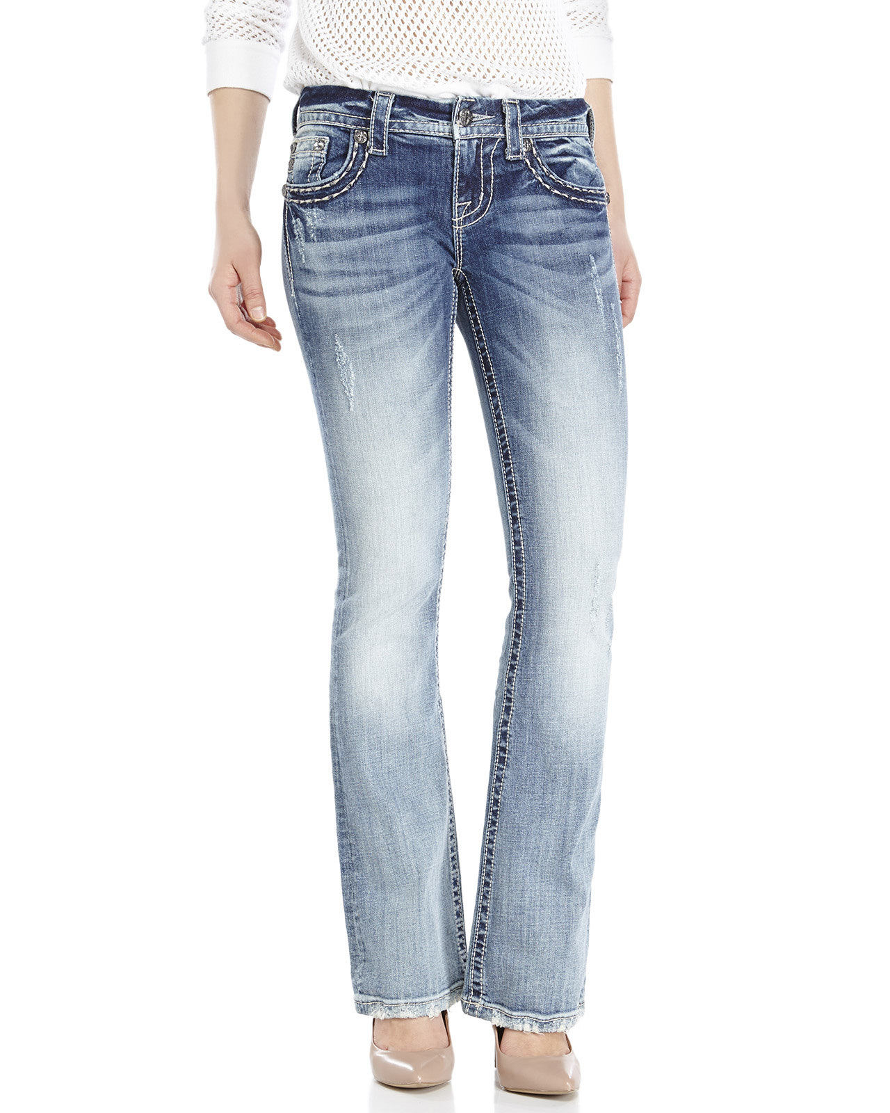 Miss me Distressed Mid-rise Bootcut Jeans in Blue | Lyst