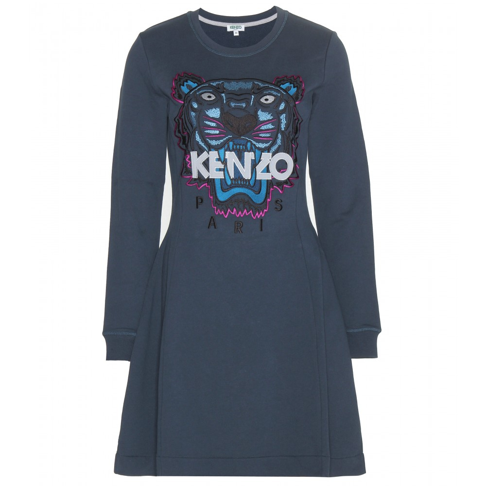 kenzo cotton sweater dress in blue lyst. Black Bedroom Furniture Sets. Home Design Ideas
