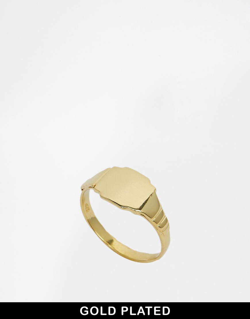 asos gold plated sterling silver sovereign ring in