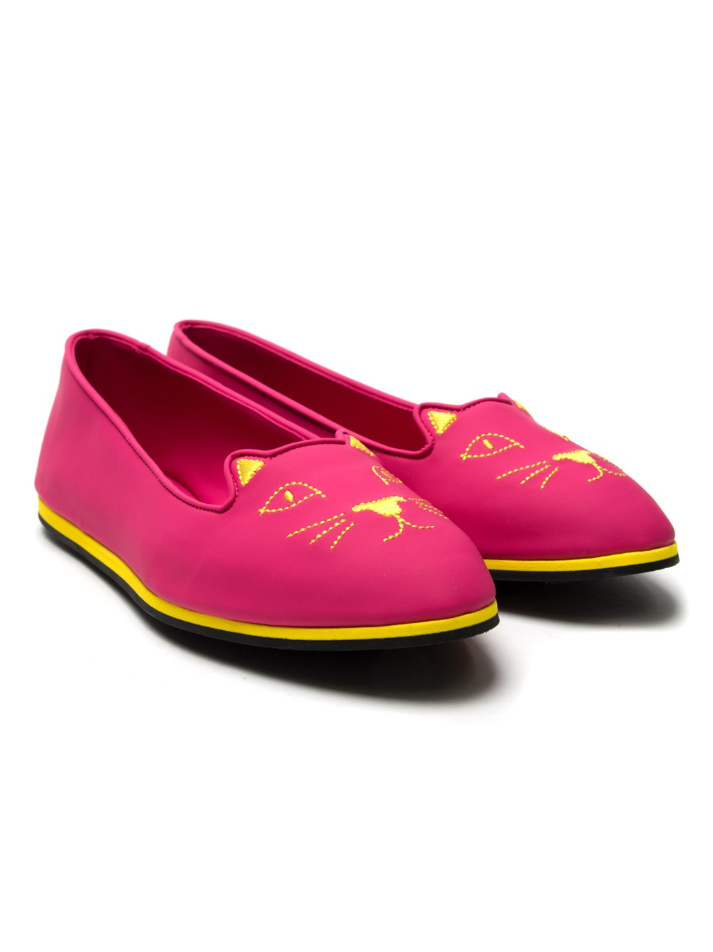 Charlotte Olympia Kitty Suede Flats In Pink Lyst