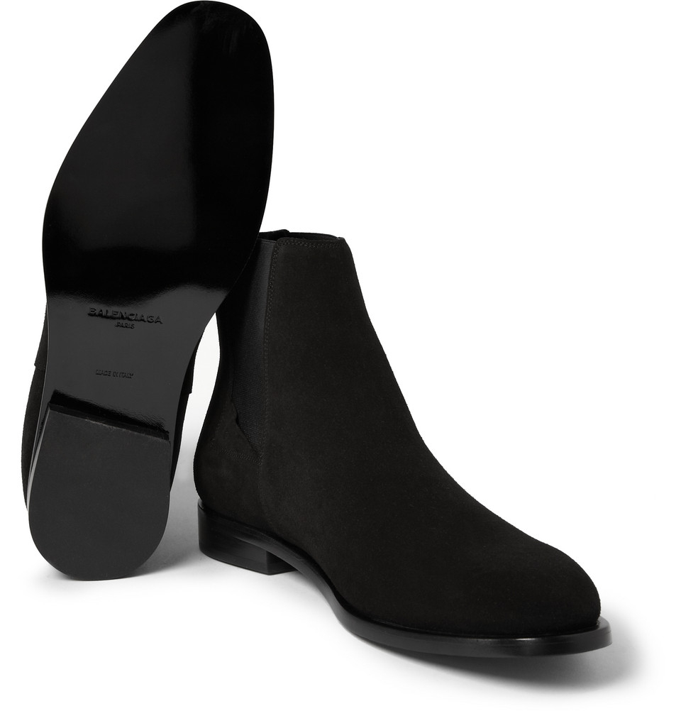 Lyst - Balenciaga Suede Chelsea Boots in Black for Men
