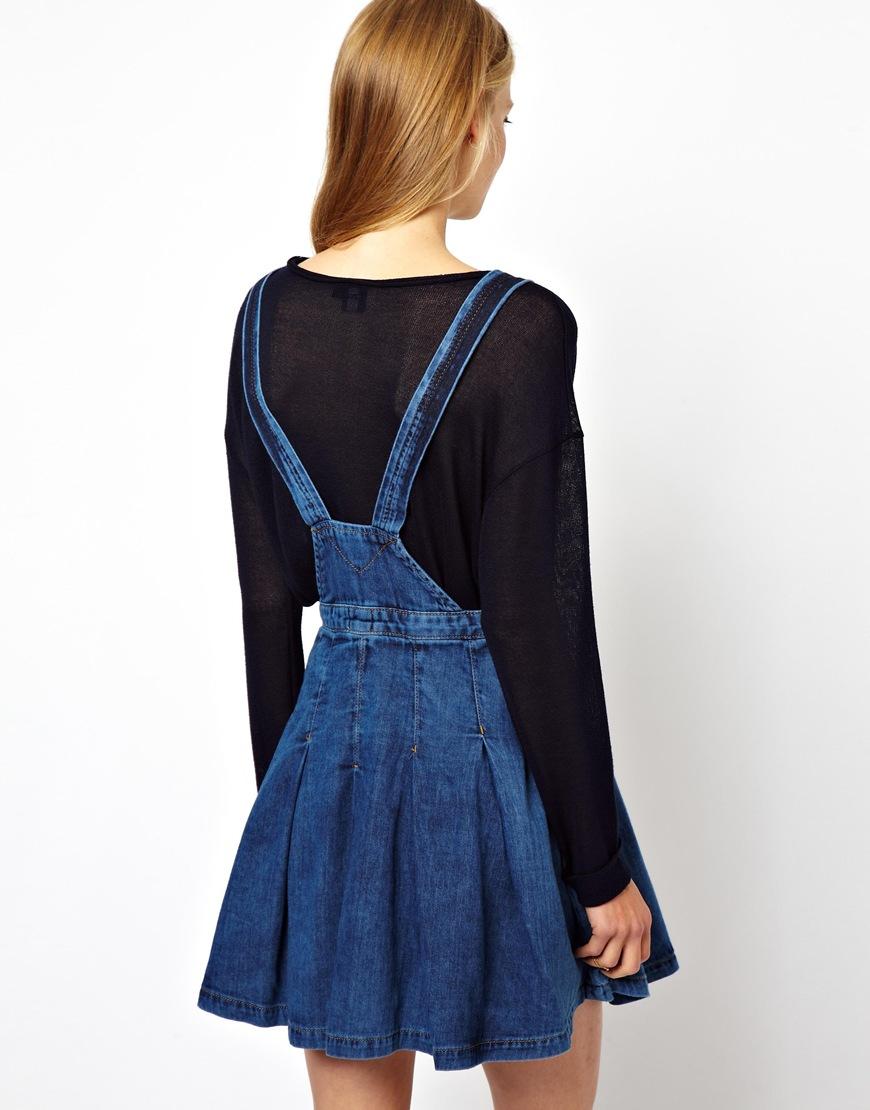 Asos Collection Asos Pinafore Denim Dress In Blue Lyst