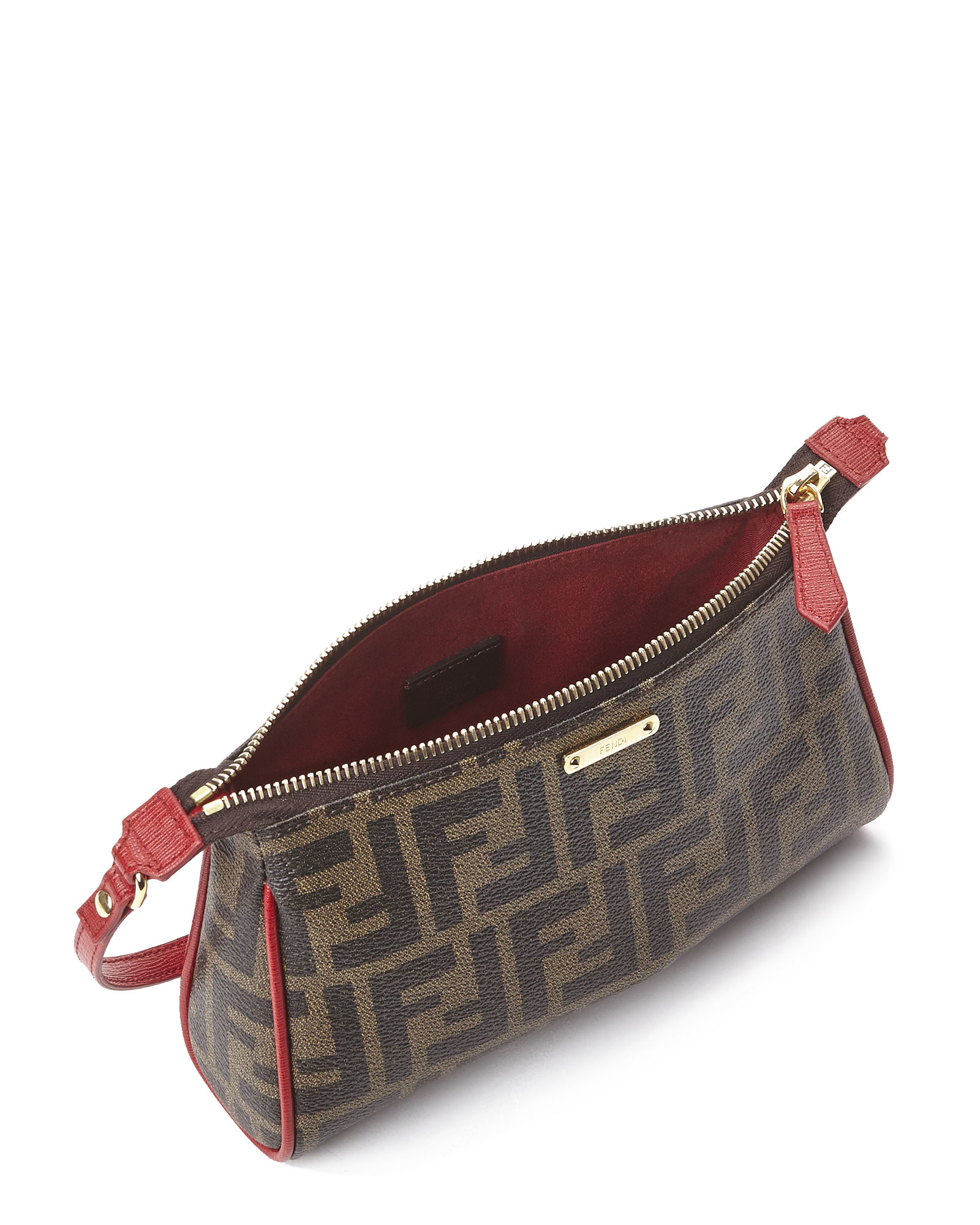 39aa1cf5bb0 Lyst - Fendi Tobacco   Brick Gold Zucca Mini Pouch in Red