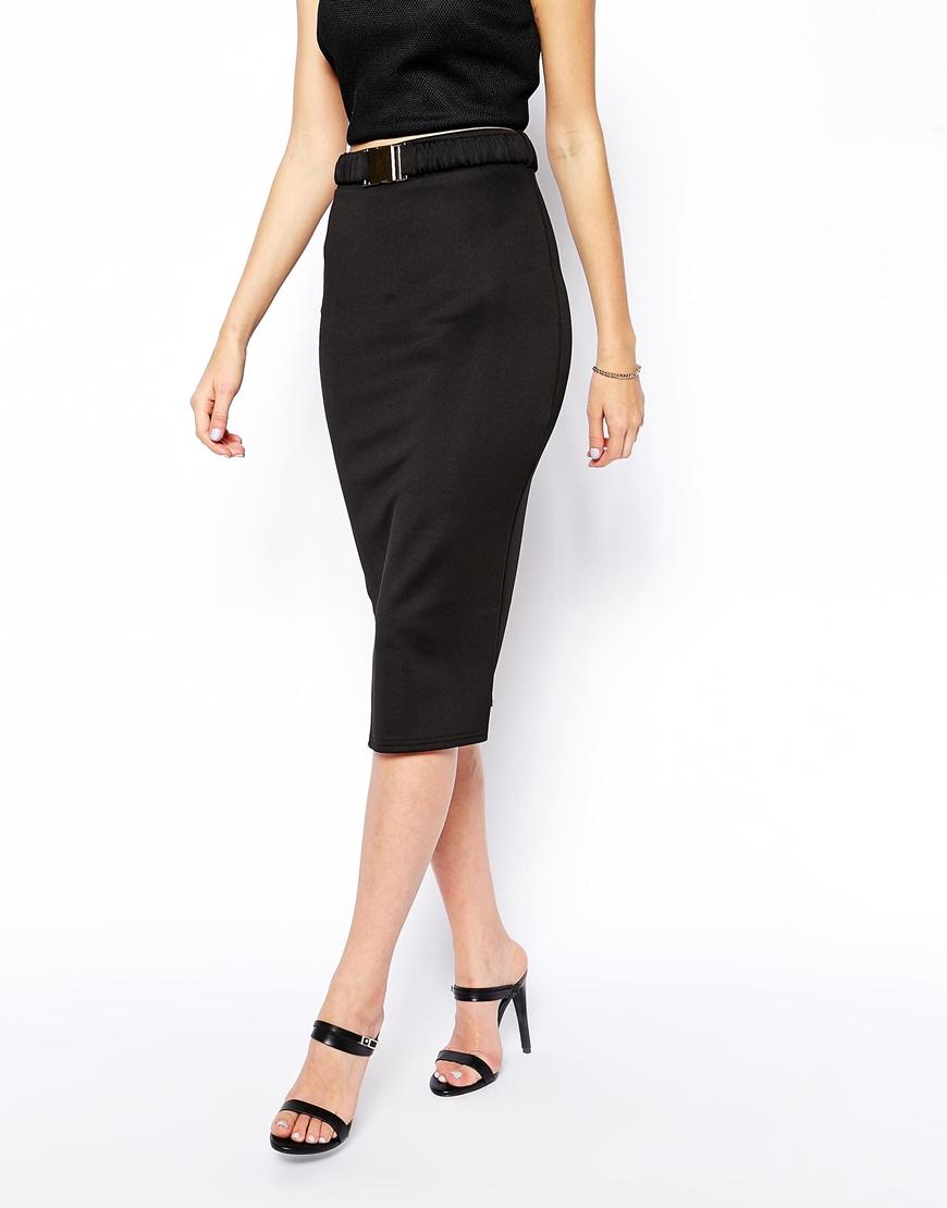 6efa3f9ff ASOS Pencil Skirt in Scuba with Belt in Black - Lyst