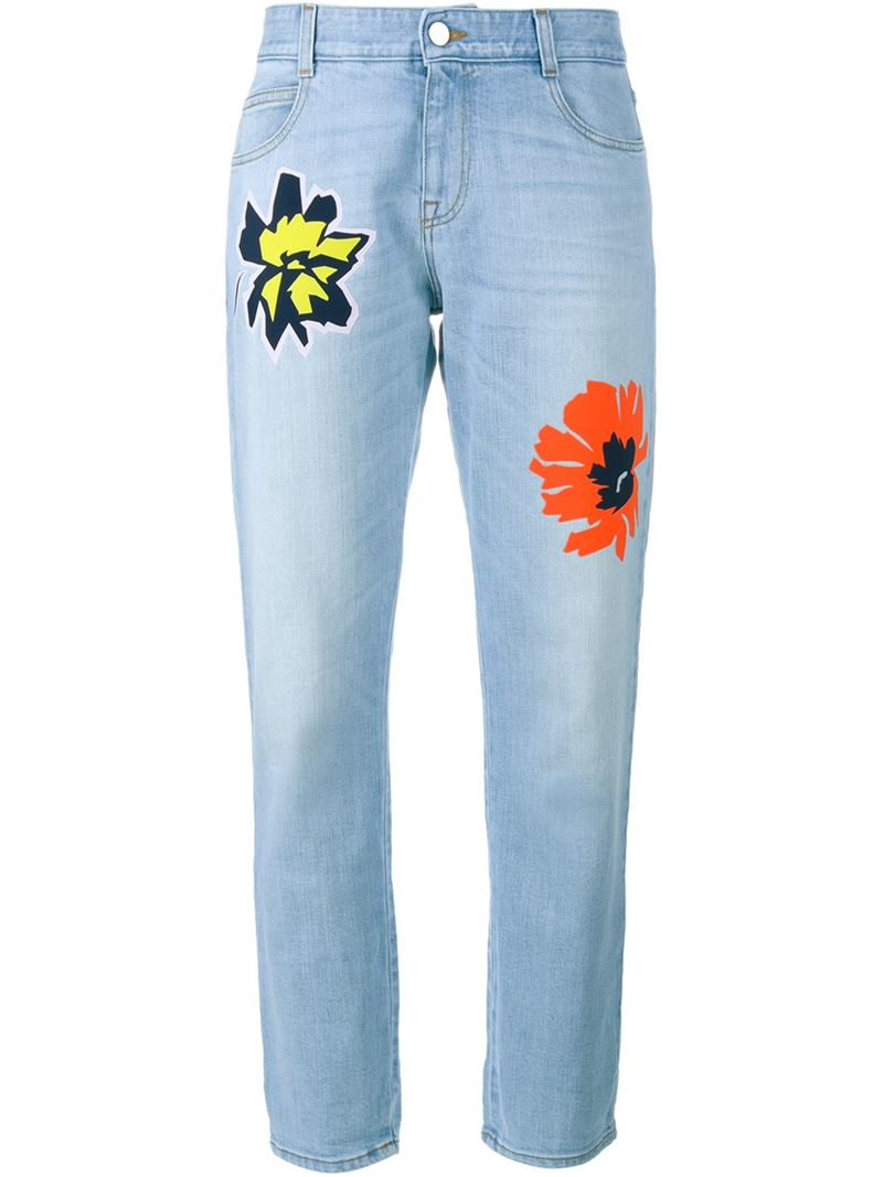 Stella mccartney flower embroidered jeans in blue lyst