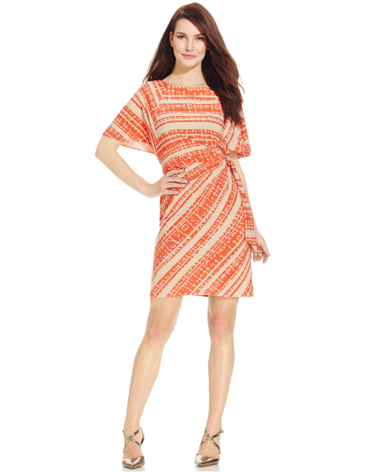 b22950a67d Tahari Tribal-print Faux-wrap Dress in Orange - Lyst