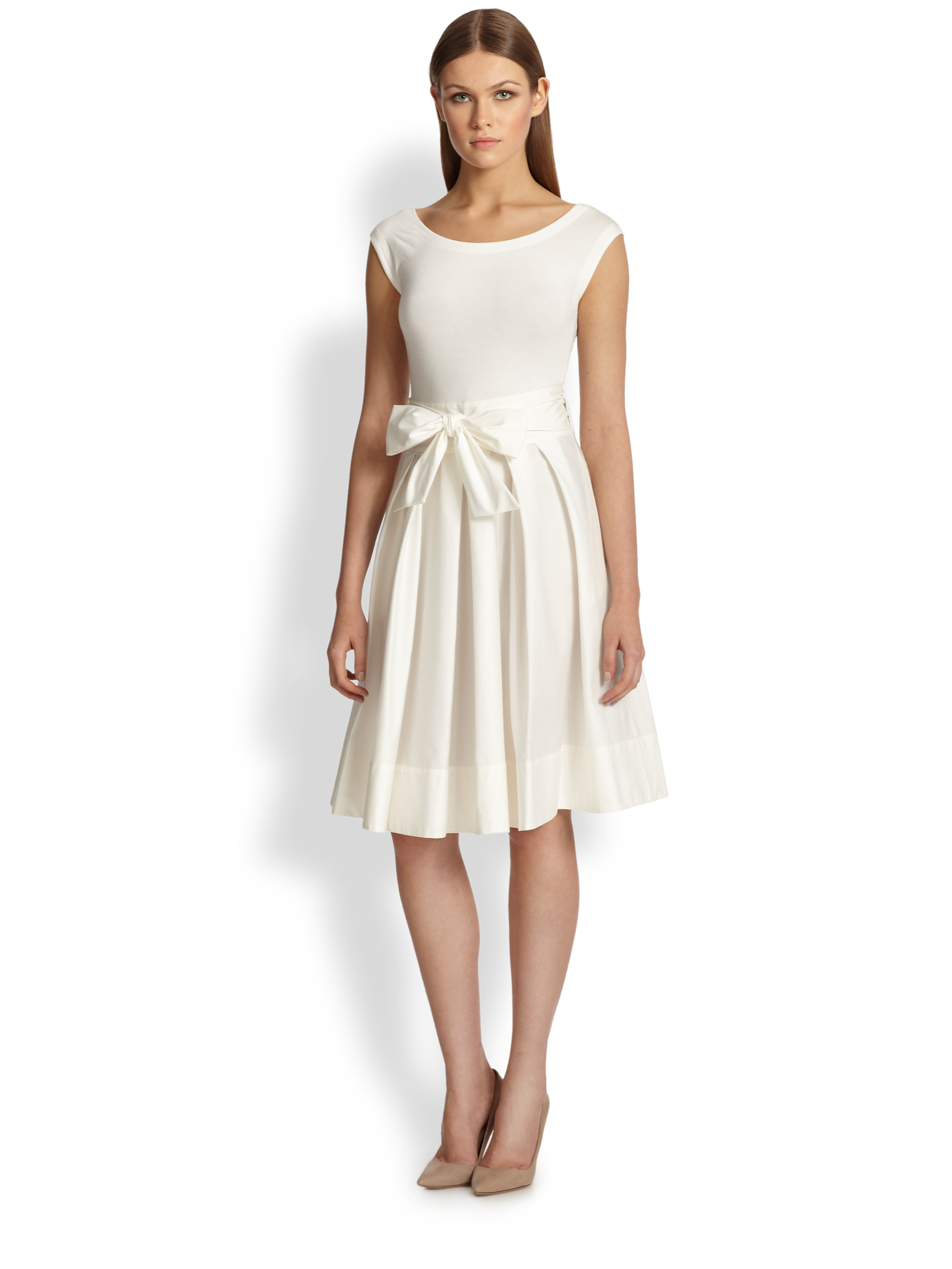 Donna karan Sash-Tie Dress in White | Lyst