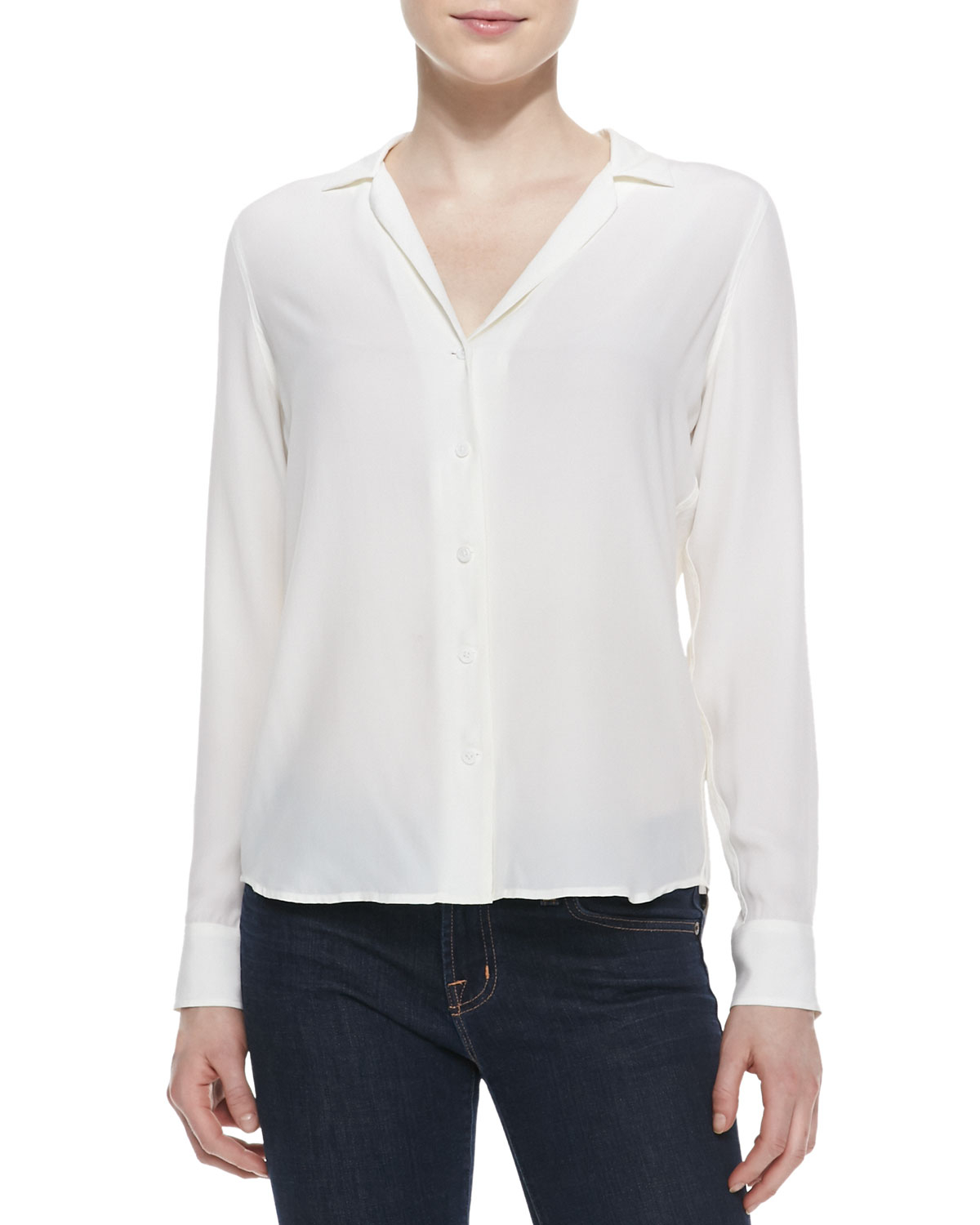 Elegant White Long Sleeve Lace Detail Chiffon Shirt  Womens Shirts Amp Blouses