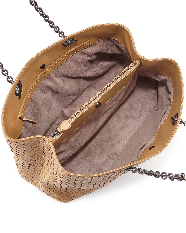2493e7de4c81 Lyst - Bottega Veneta Intrecciato Double Chain Tote Bag in Natural