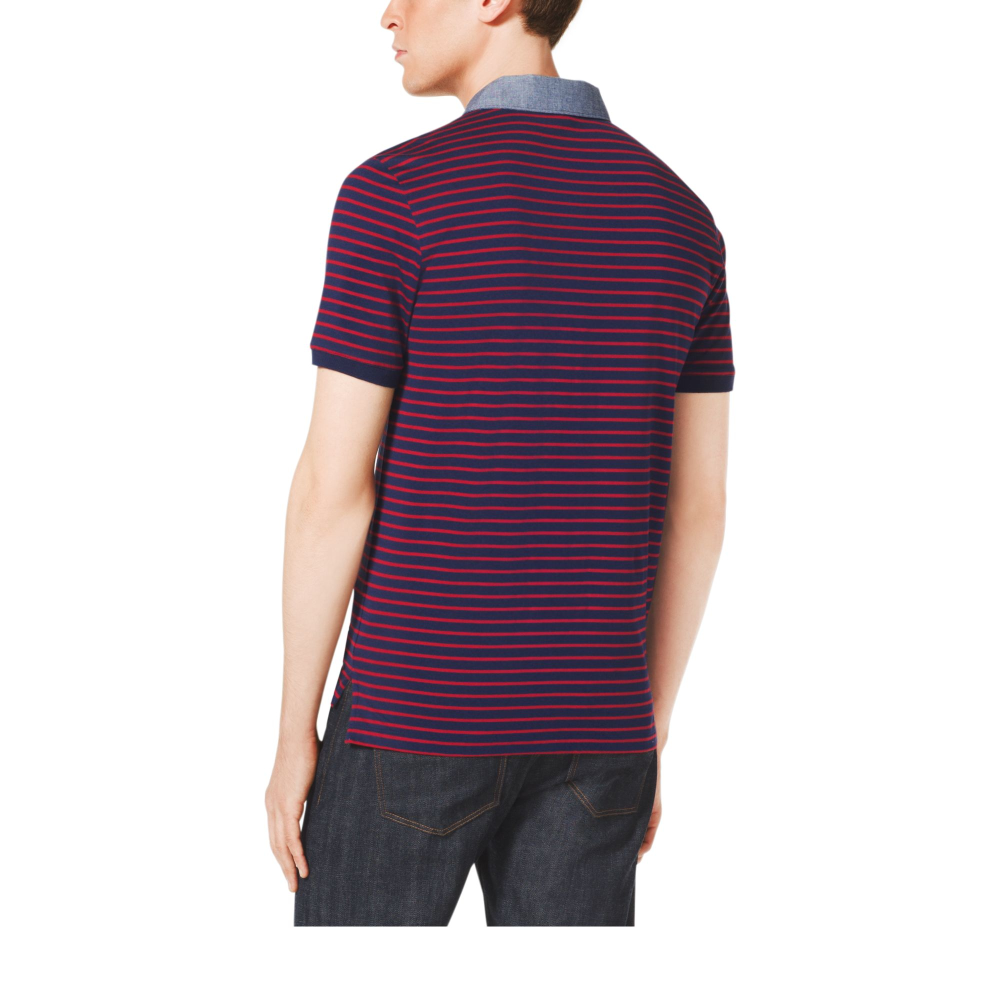 Lyst michael kors pocket front striped cotton polo shirt for Men s cotton polo shirts with pocket
