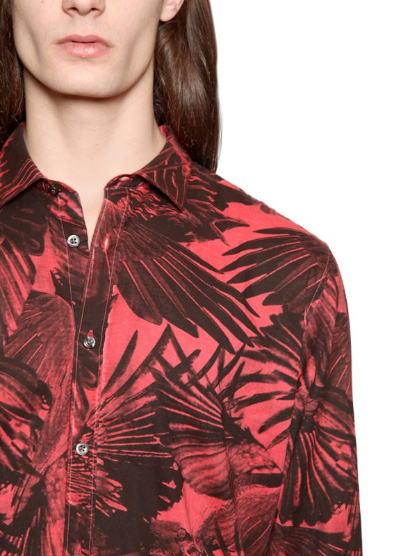 1b361f6d DIESEL Red Raven Wing Printed Cotton Poplin Shirt for men