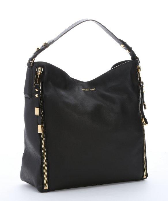 Michael kors Black Leather 'miranda Zipper' Shoulder Bag in Black ...