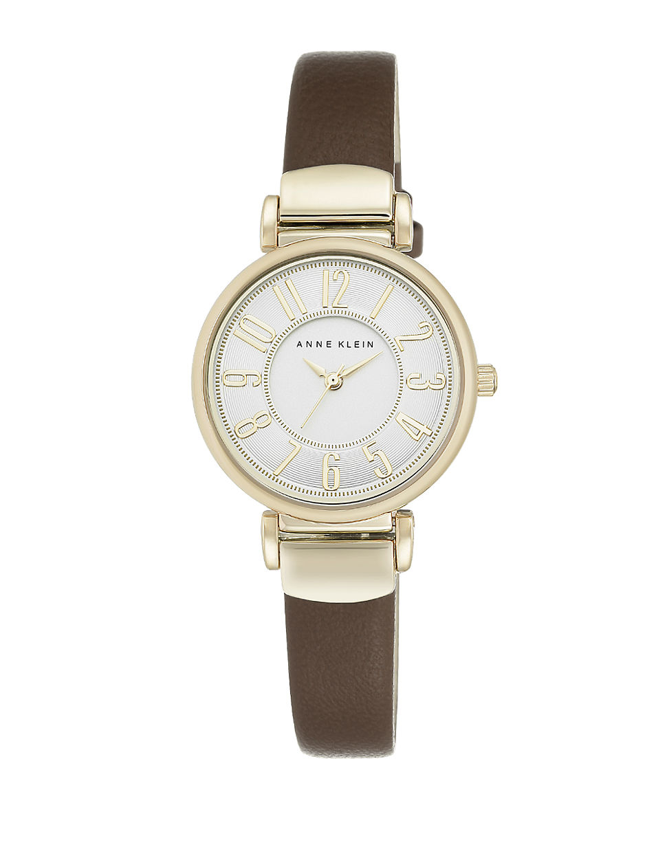 Anne klein goldtone brown leather strap watch in metallic lyst for Anne klein leather strap