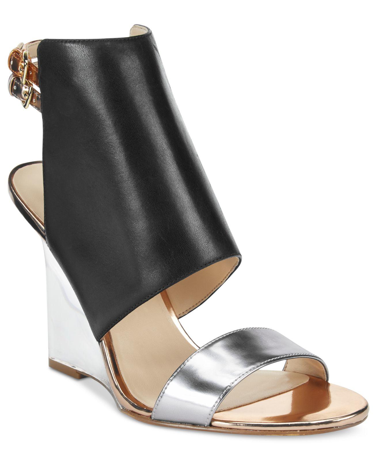 63f9e7a42814c7 Lyst - Nine West Bueta Wedge Sandals in Black