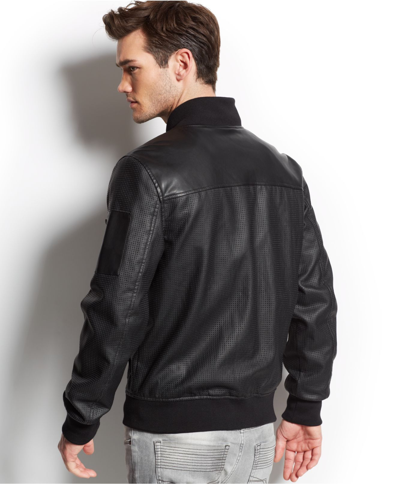 d8d1210ed Guess Perforated Faux-Leather Jacket in Black for Men - Lyst