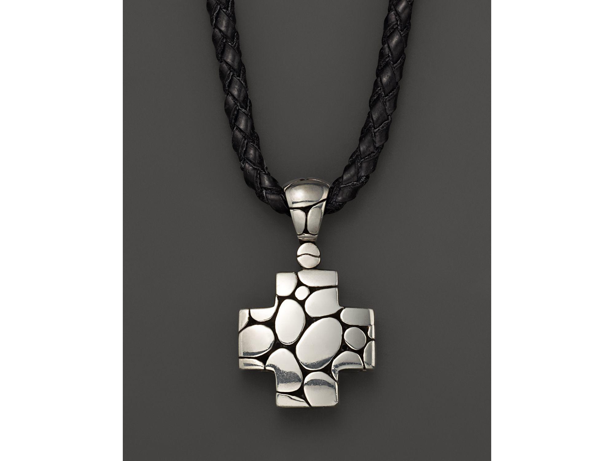 Lyst john hardy mens kali silver cross pendant on black leather gallery aloadofball Image collections