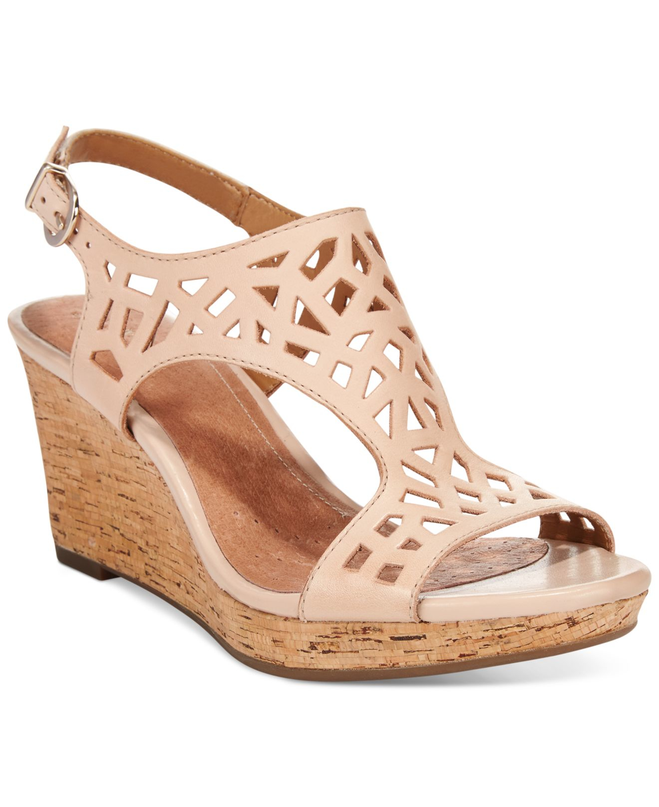 Lyst - Clarks Artisan Women s Palmdale Sands Wedge Sandals in Natural 953e163efb