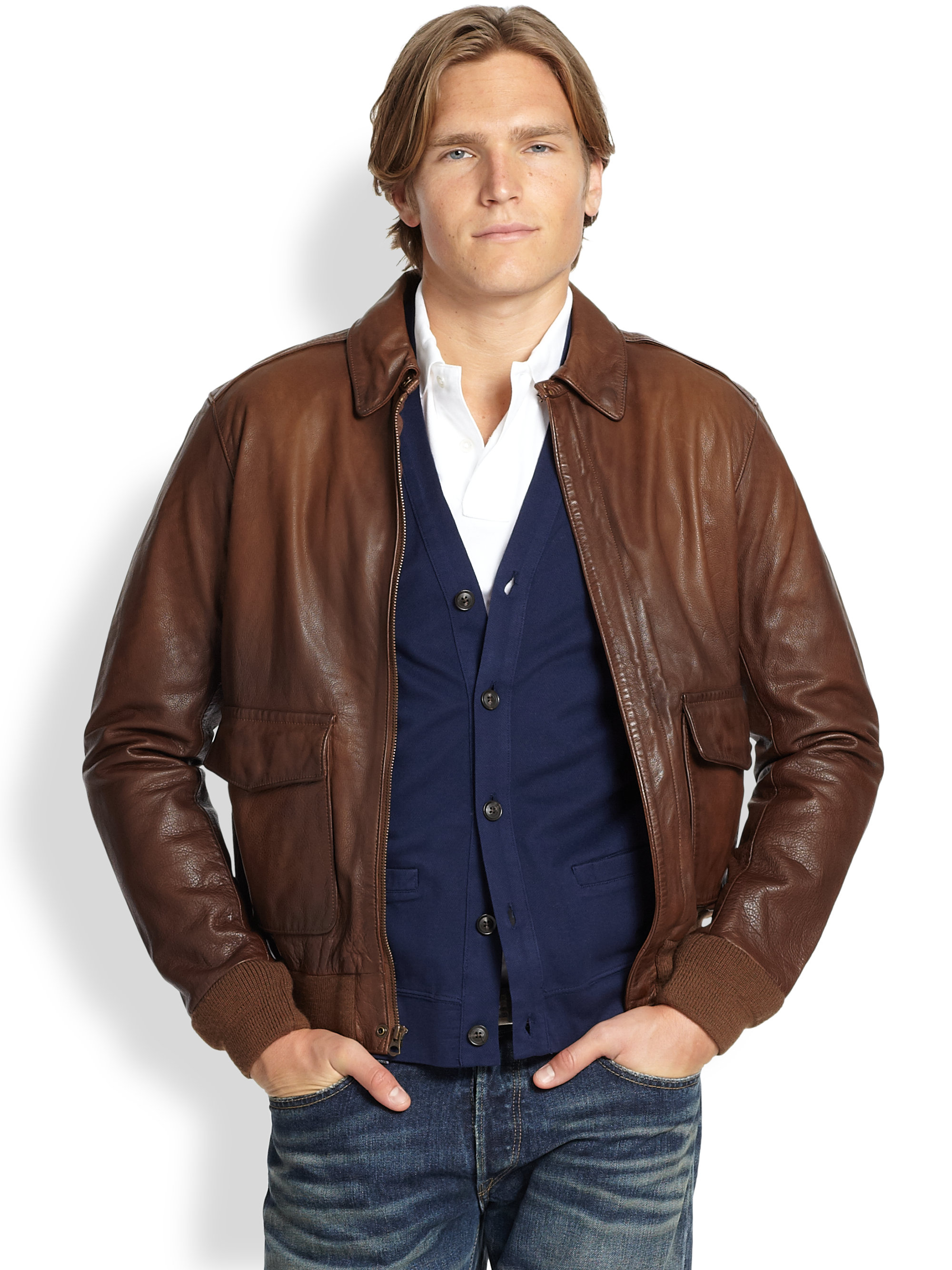 polo ralph lauren farrington bomber jacket in brown for. Black Bedroom Furniture Sets. Home Design Ideas