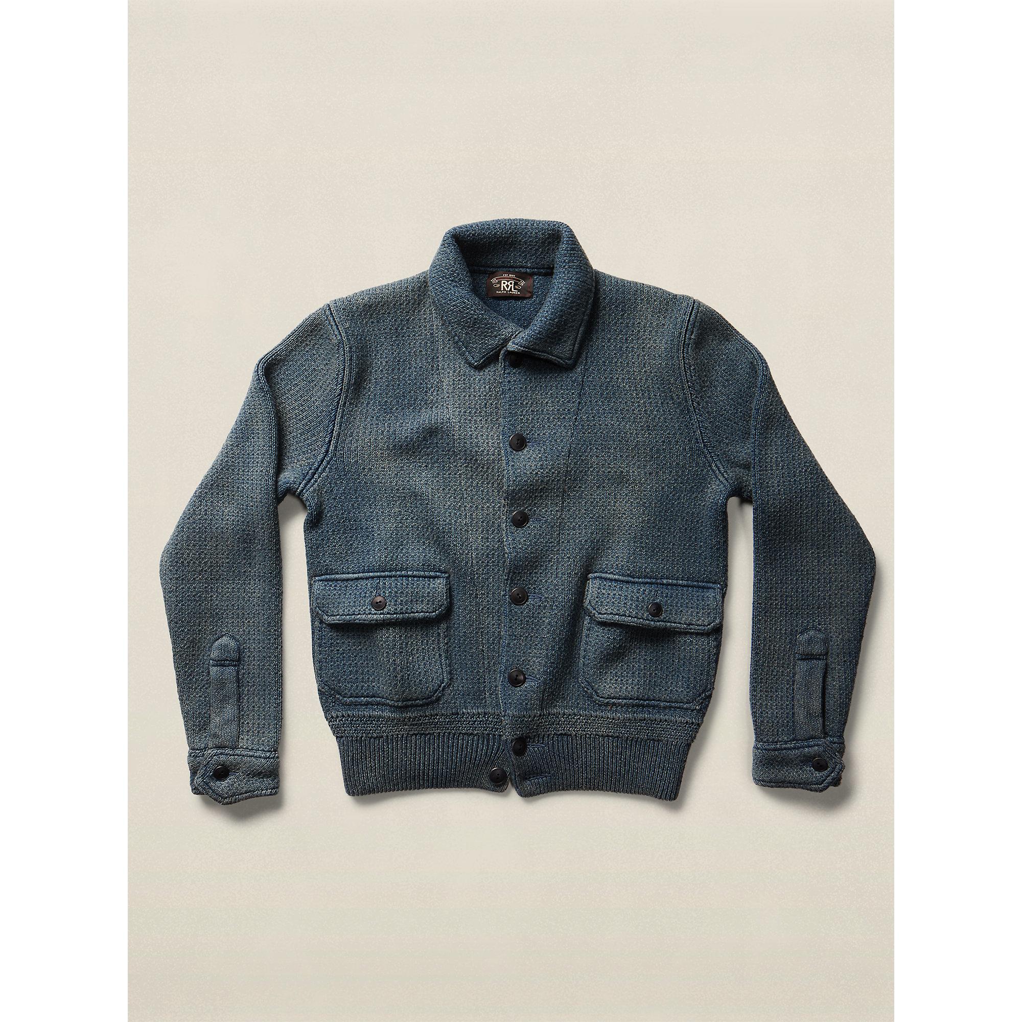 Rrl Indigo Cotton Sweater Jacket In Blue For Men Lyst