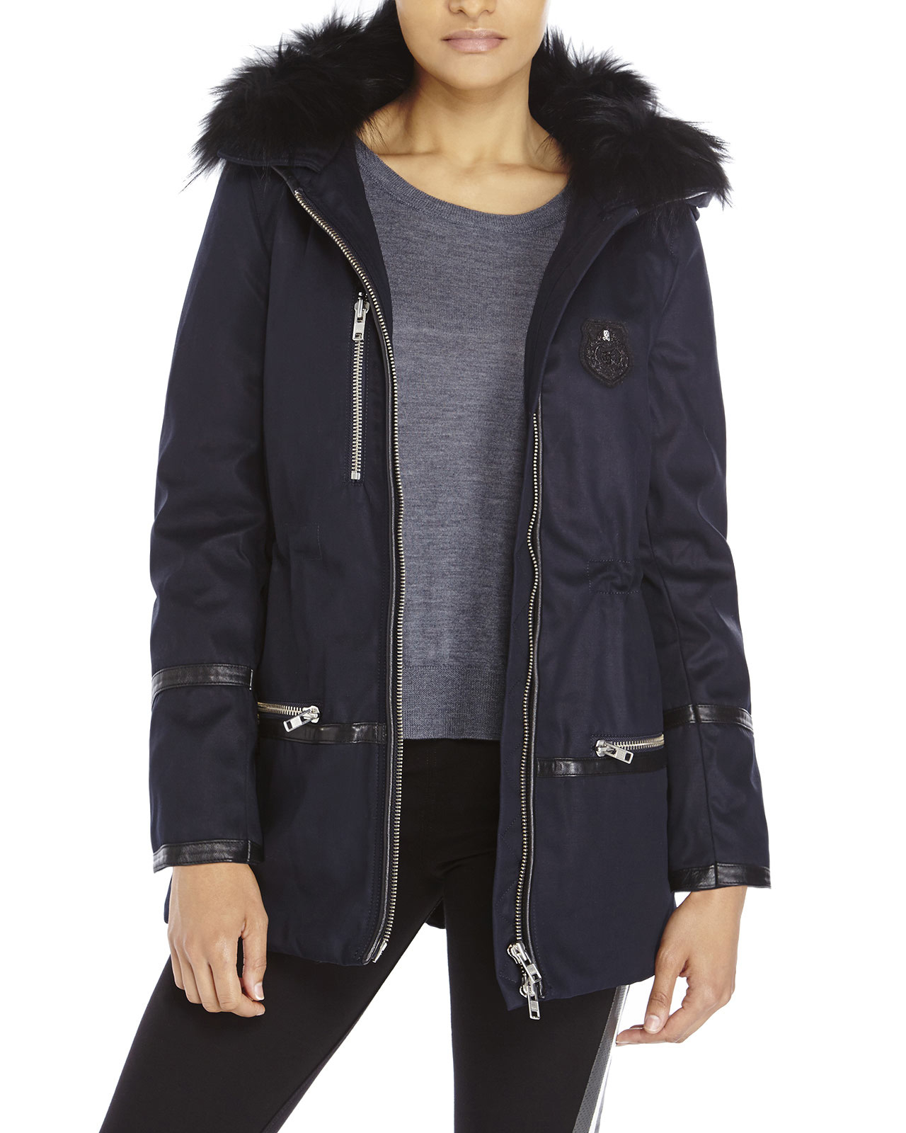 The kooples Real Fur Trim Hooded Parka in Blue | Lyst
