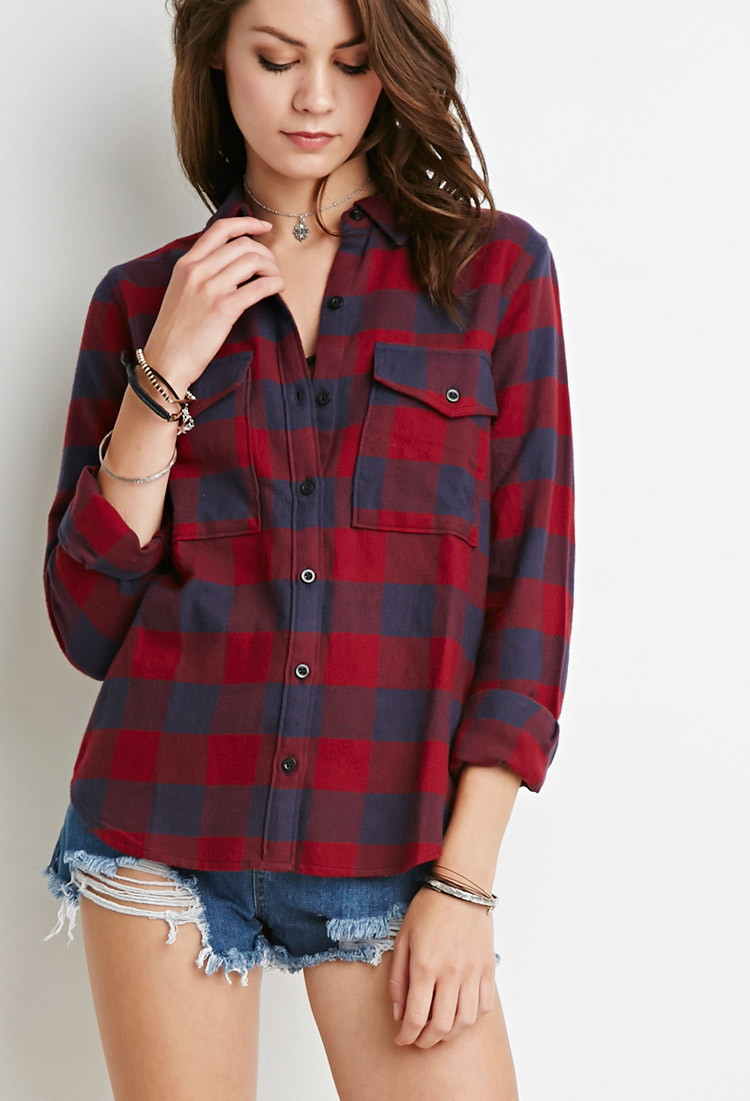 Forever 21 buffalo plaid flannel shirt in blue red blue for Flannel shirts for womens forever 21