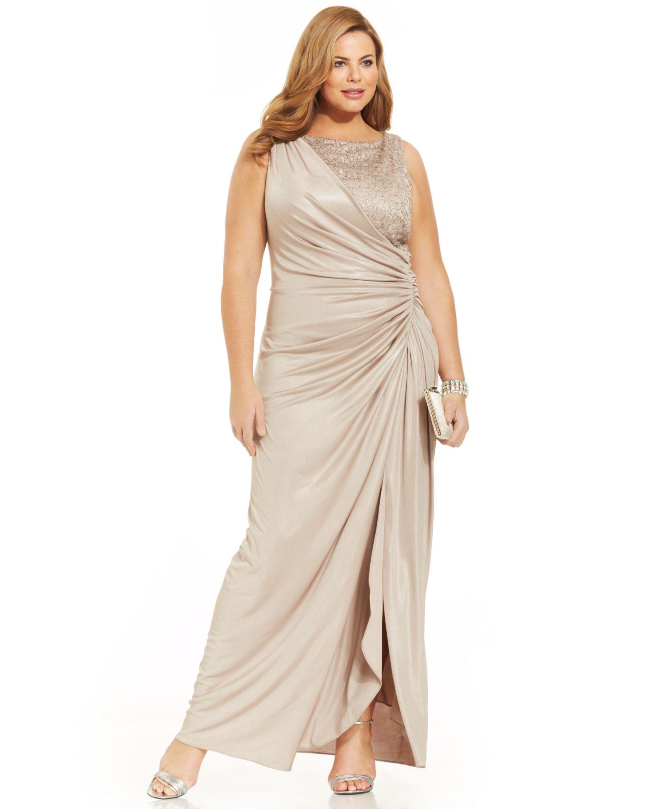 Plus Size Draped Metallic Gown