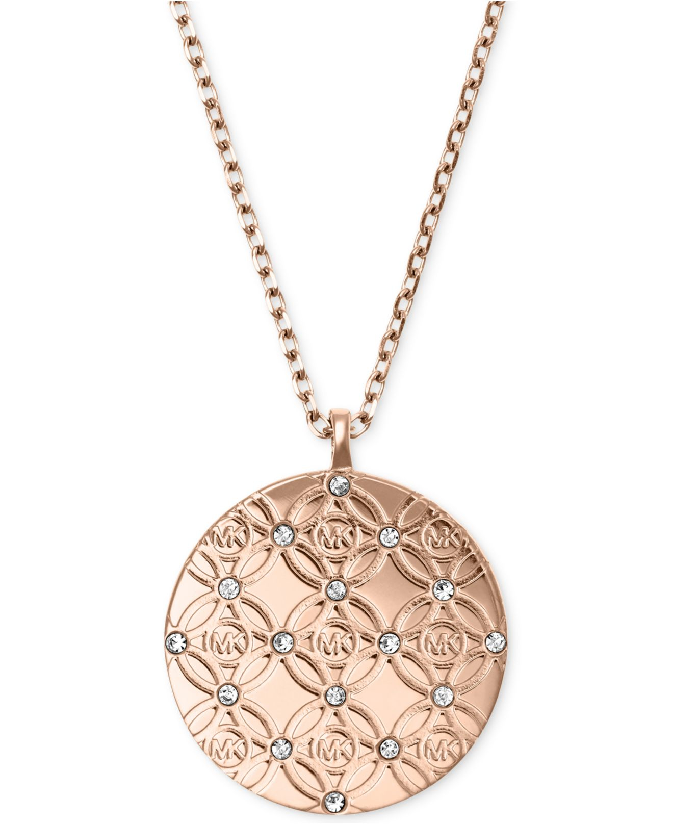 Lyst michael kors monogram disk pendant necklace in pink gallery mozeypictures Choice Image