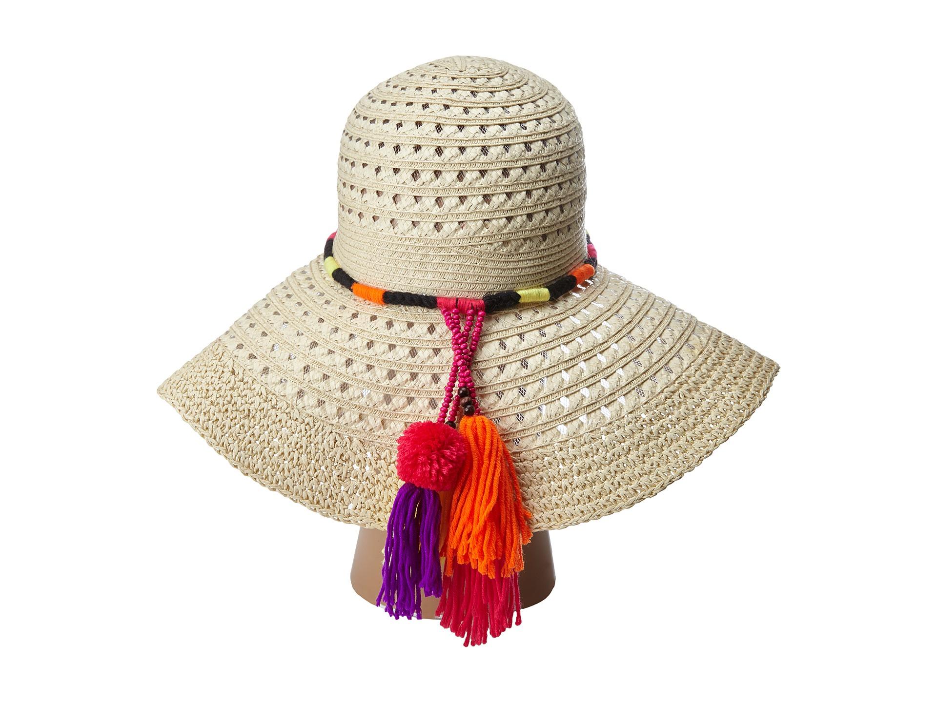aceab044 Betsey Johnson Floppy Straw Hat With Pom Pom Tassels - Lyst