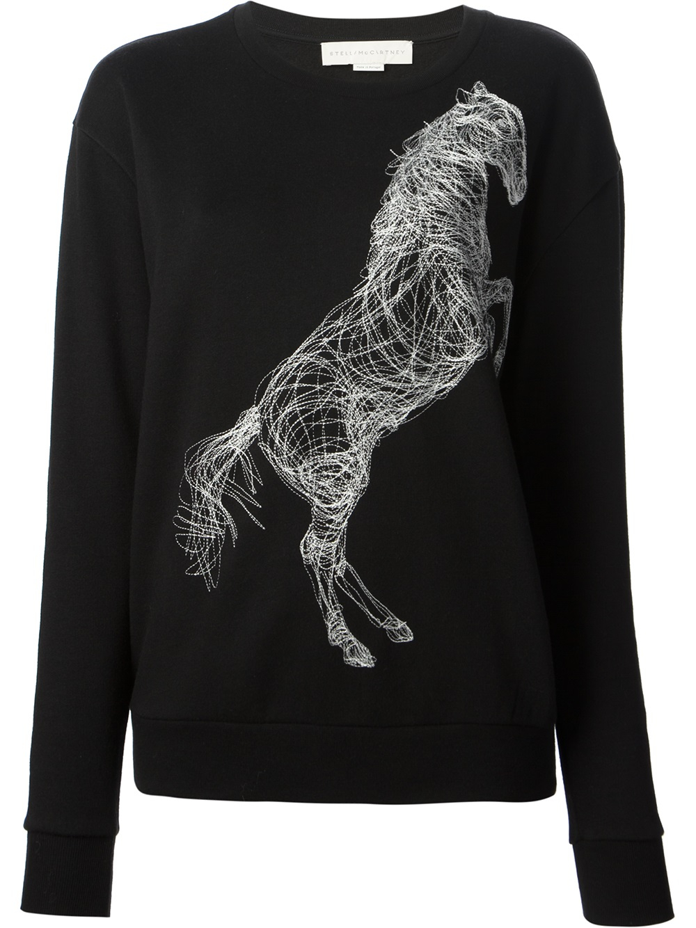 Stella mccartney horse embroidered sweater in black lyst