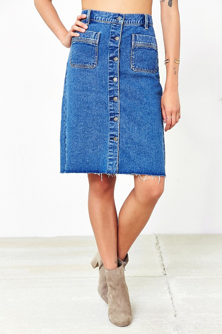 Bdg Button-front Denim Pencil Skirt in Blue | Lyst