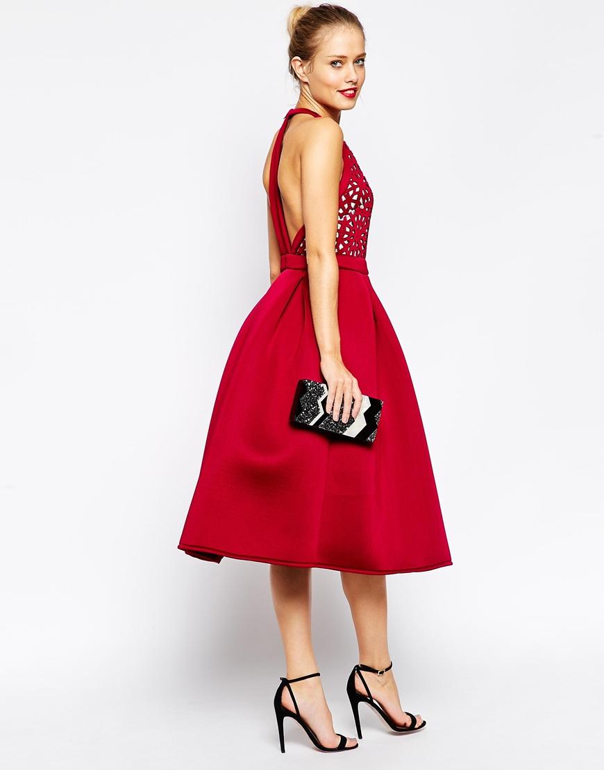ea51740f599e Lyst - ASOS Tall Premium Cutout Midi Skater Dress in Red
