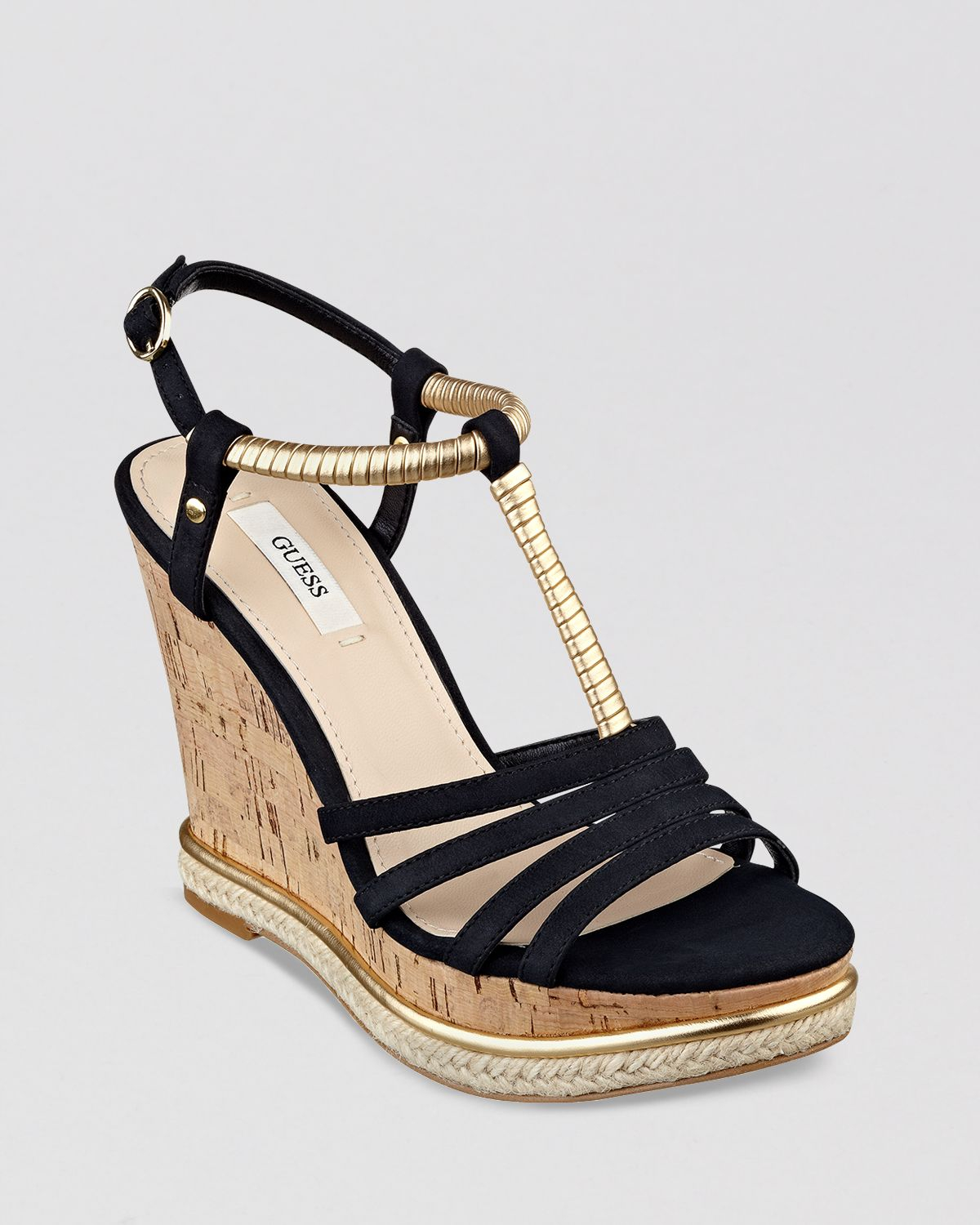 guess open toe platform wedge sandals hilary in black lyst