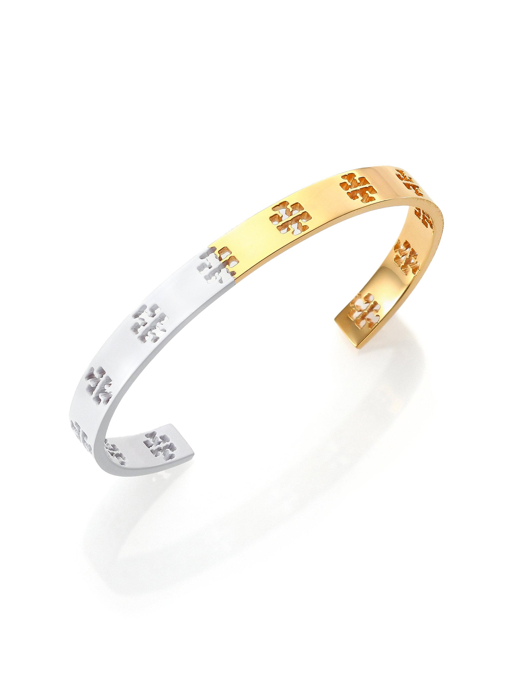 Tory Burch Dipped Pierced T Logo Cuff Bracelet White In