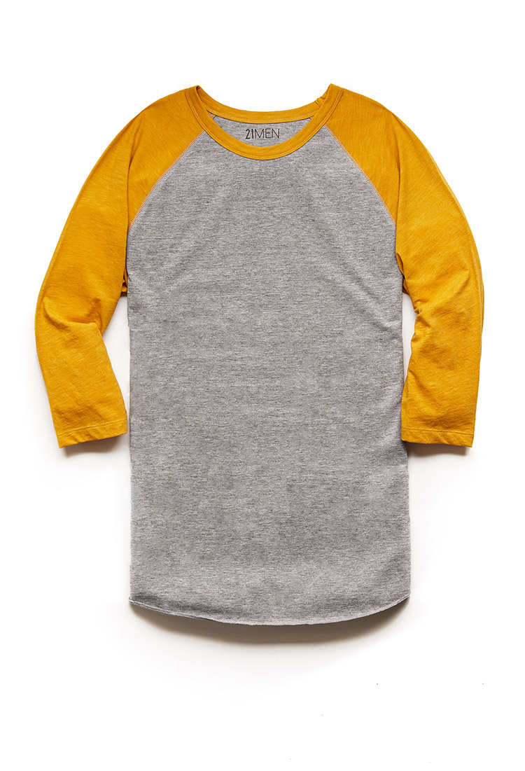927ad7a0541b Forever 21 Colorblock Heathered Baseball Tee 21 Men in Yellow for ...