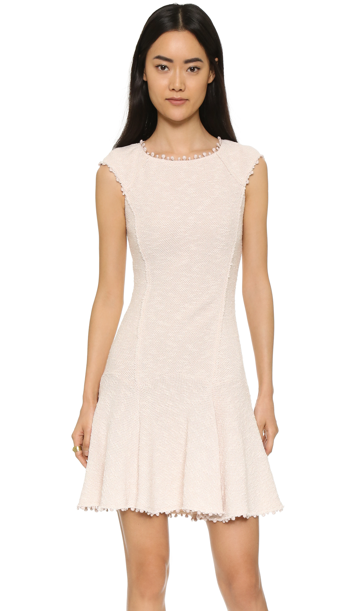 Lyst Rebecca Taylor Stretch Boucle Dress In Natural