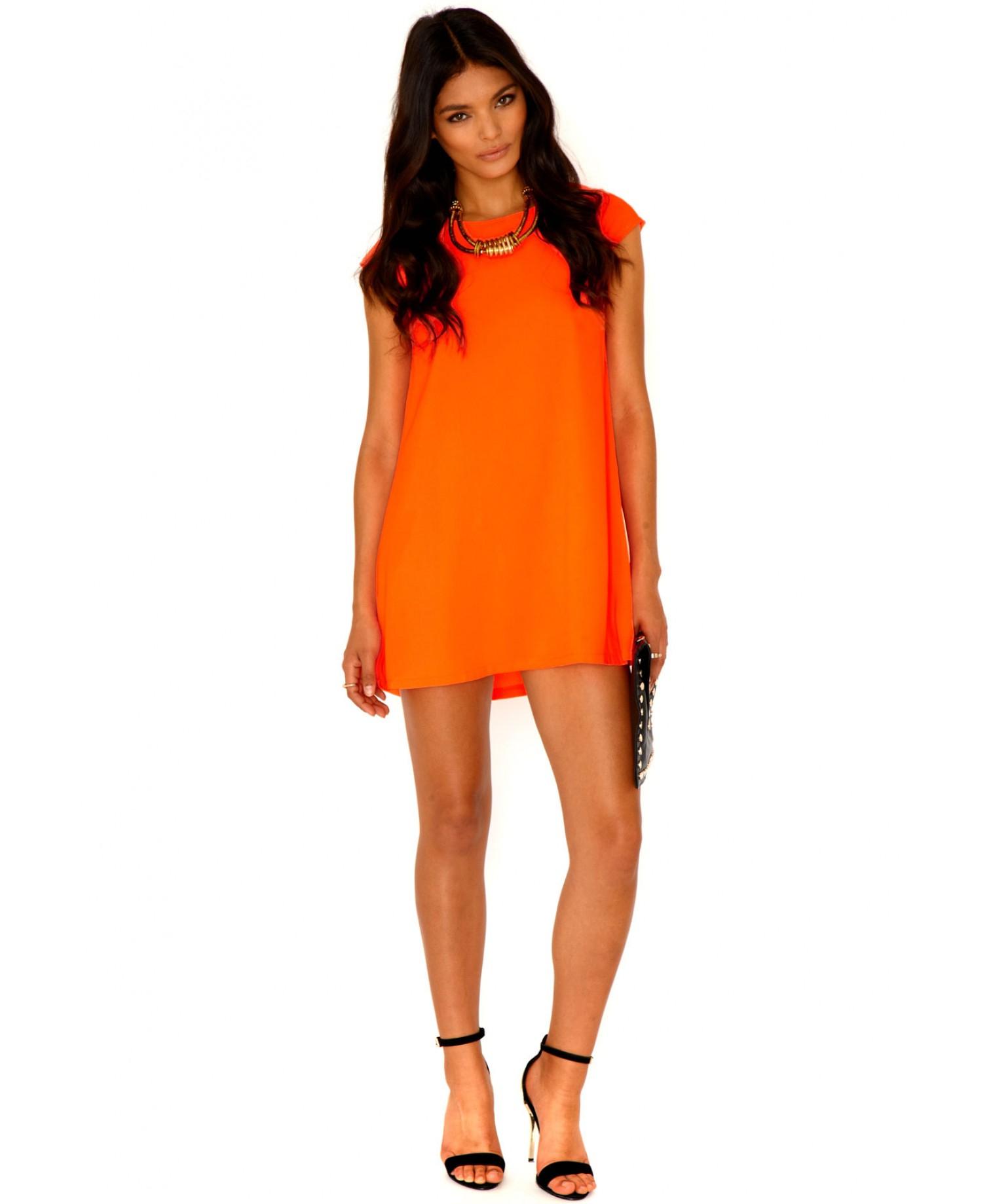 Neon orange dress what color shoes