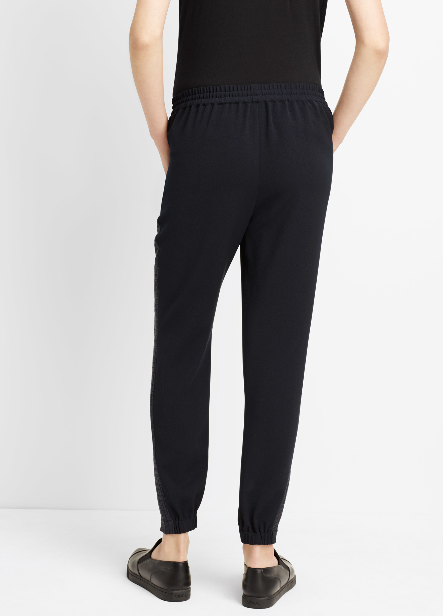 Vince Croc Jacquard Side Strapping Jogger In Blue Coastal