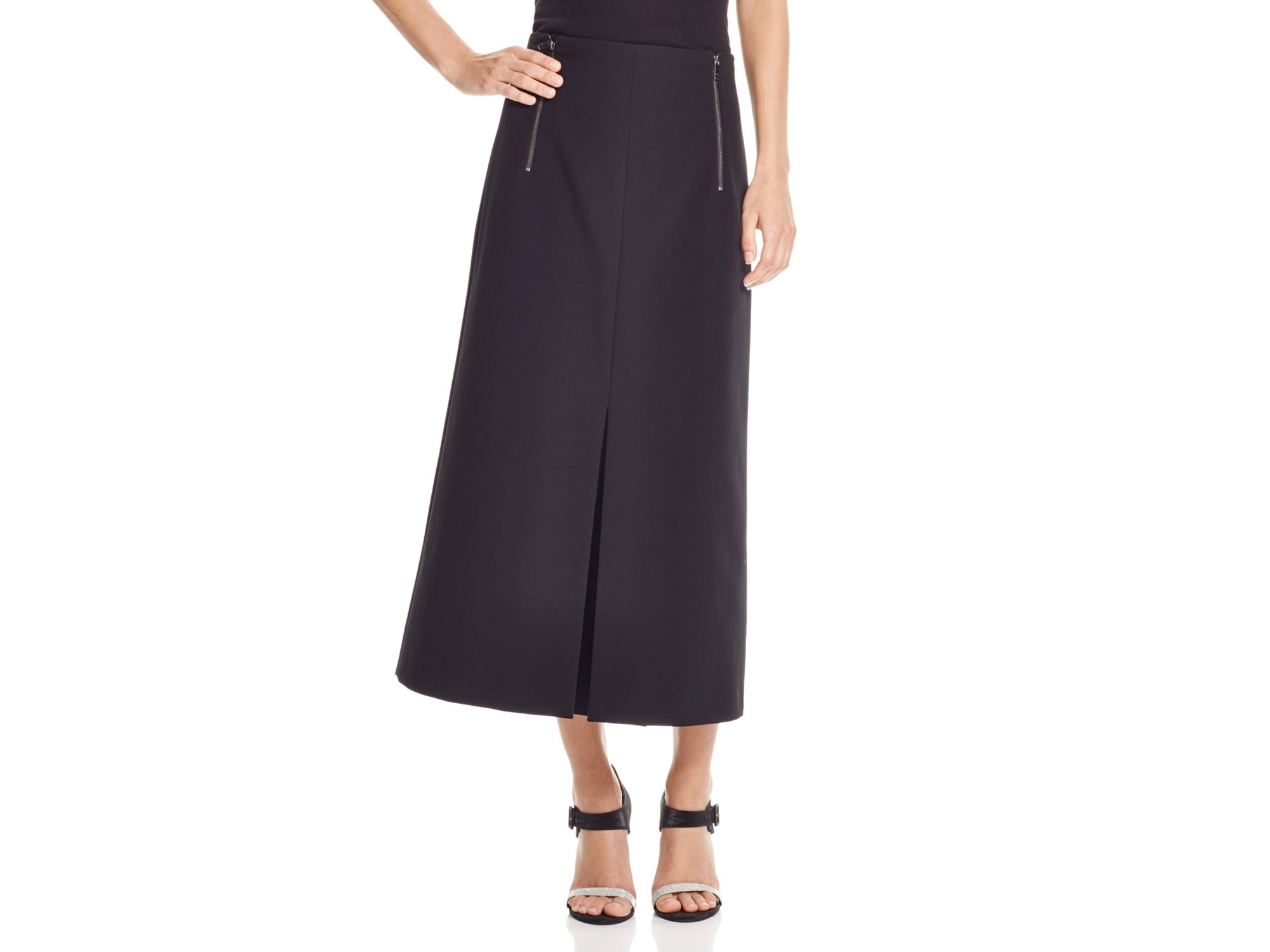 innovative design 2019 authentic top quality DKNY Black Zip Front Pleated Midi Skirt