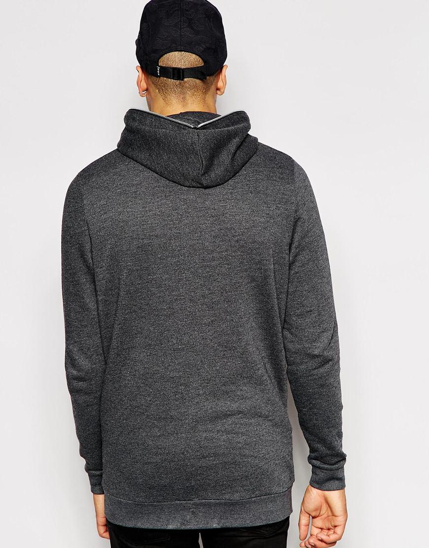 Lyst - ASOS Longline Zip Up Hoodie With Zip Hood in Gray for Men 122ed6cb19b5
