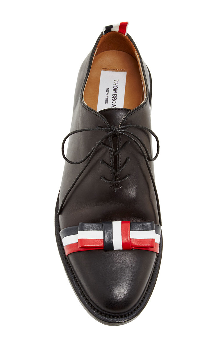 Lyst Thom Browne Box Calf With Leather Bow Shoe In Black