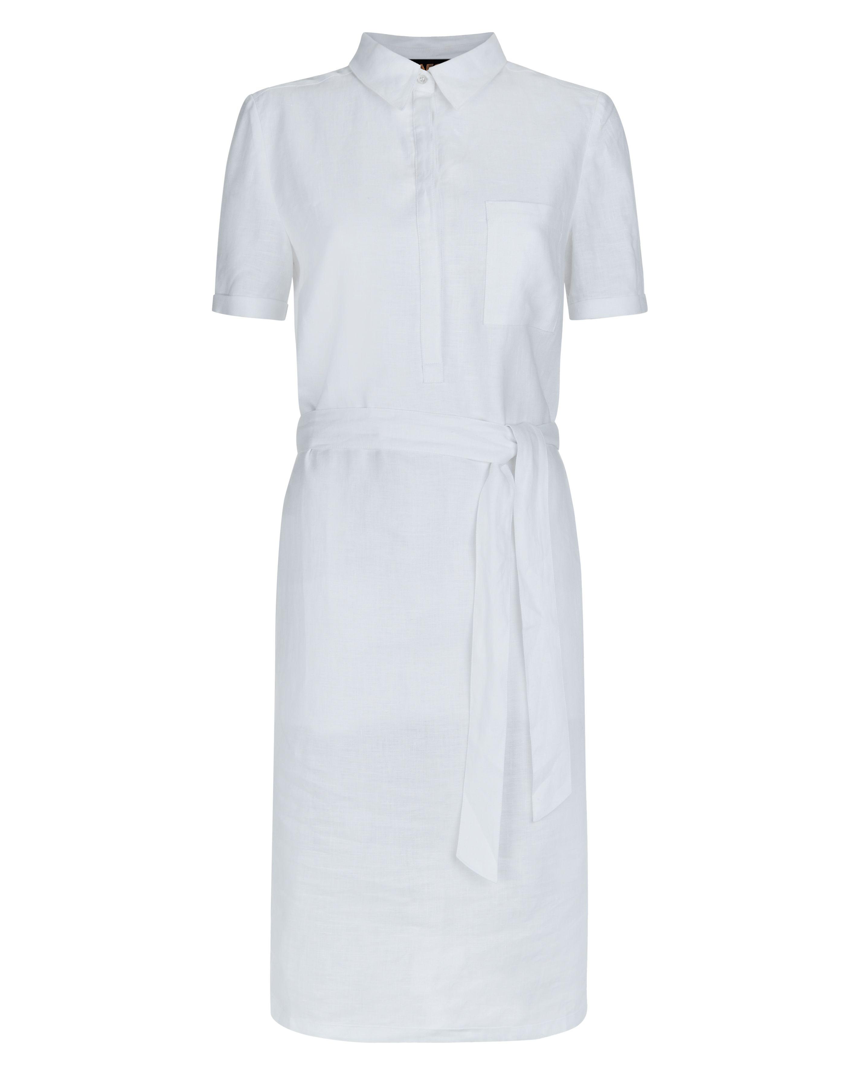Lyst jaeger linen casual shirt dress in white for White linen dress shirt