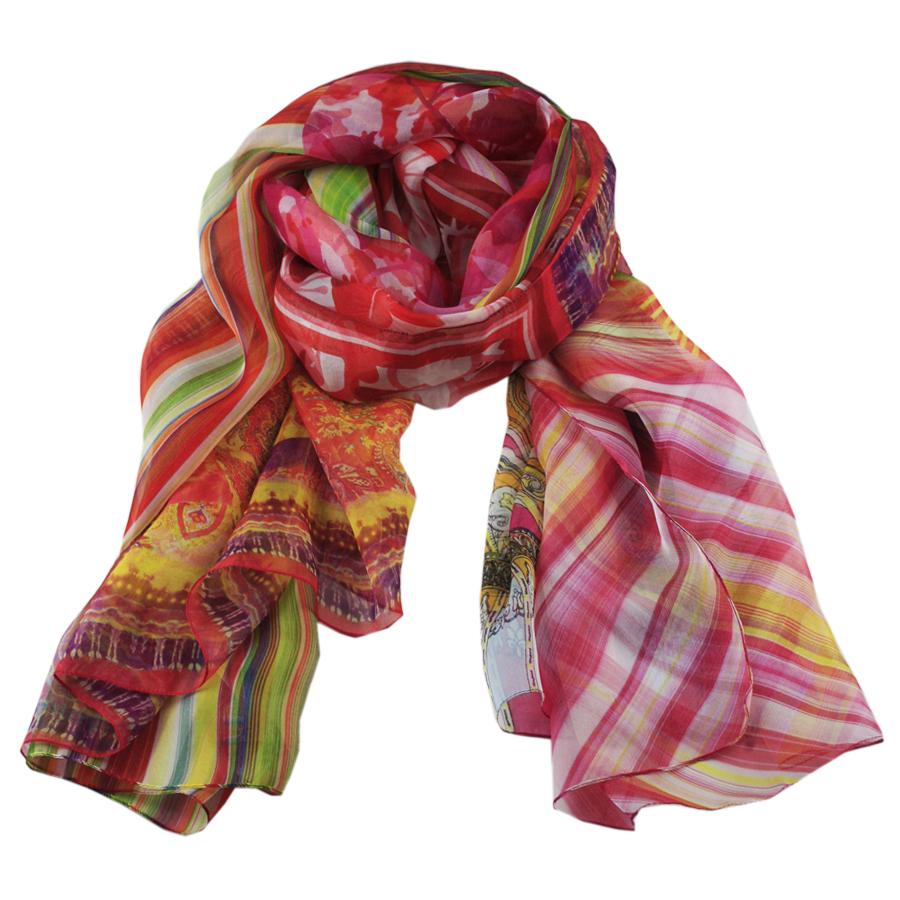 black co uk rainbow print italian silk scarf lyst