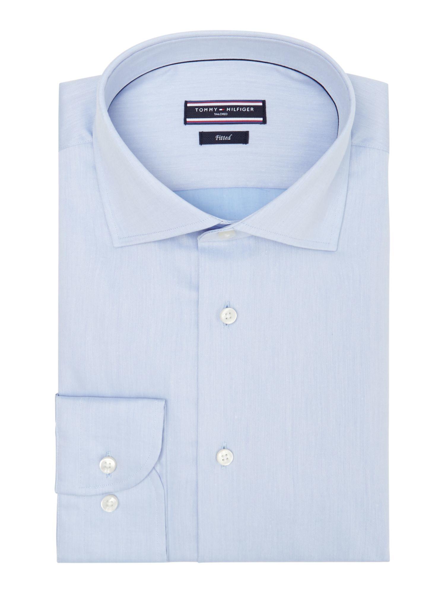 tommy hilfiger blue jake slim fit plain shirt for men lyst. Black Bedroom Furniture Sets. Home Design Ideas
