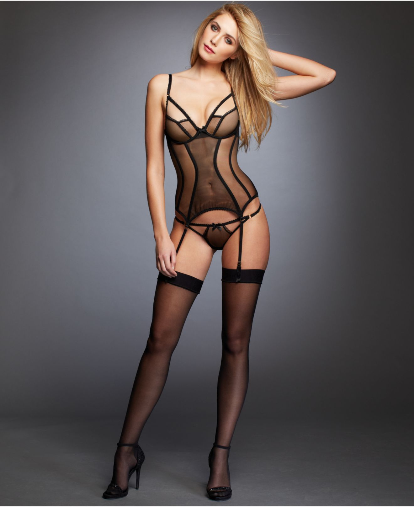 L Agent By Agent Provocateur Mariona Basque Sheer Bustier L085 25 In Black Lyst