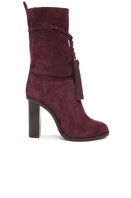 lanvin suede tassel boots in purple lyst