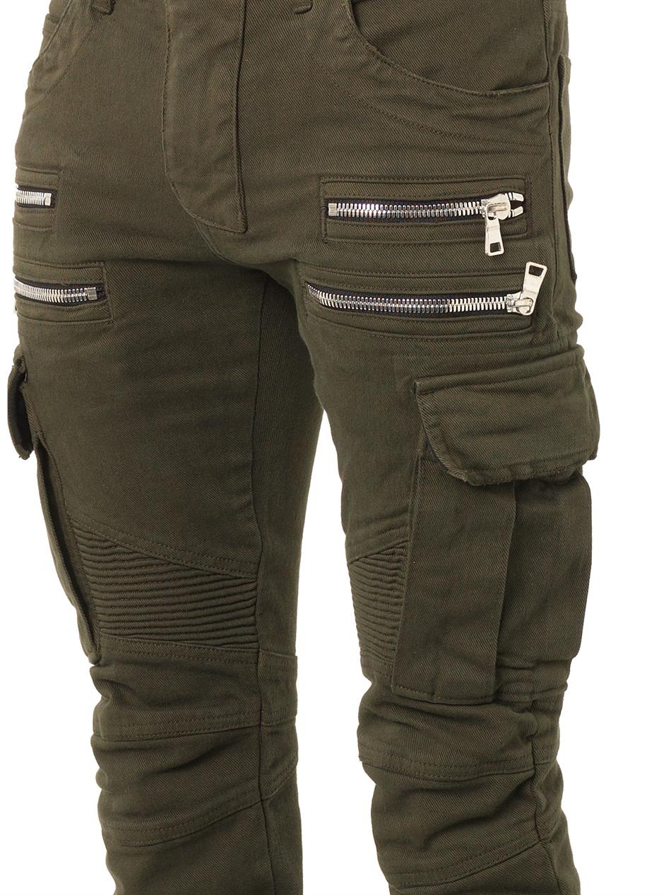 lyst balmain multipocket biker jeans in green for men