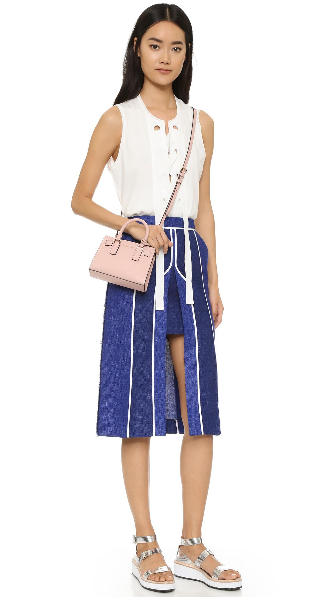 50e9b654a27a8 MICHAEL Michael Kors Dillon Saffiano-Leather Cross-Body Bag in Pink - Lyst